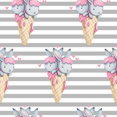 Cute watercolor seamless pattern with bunny in ice cream. Hand painted background. Watercolor illustration for print, textile.
