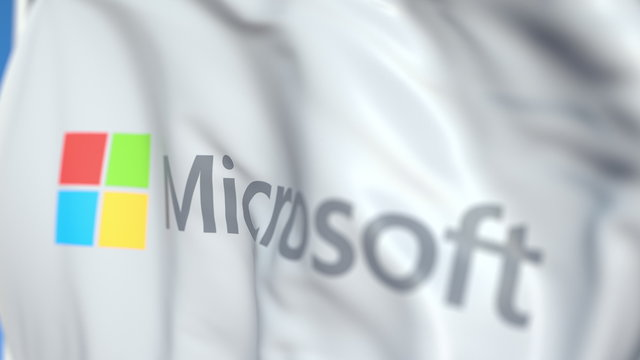 Waving flag with Microsoft Corporation logo, close-up. Editorial 3D rendering