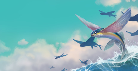 A flock of flying fish on a wave. Realistic illustration background place for text. A group of fish on a blue ocean background, the feeling of flying freedom.