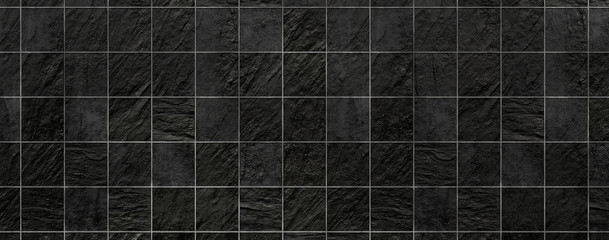 Black natural stone tiles for pattern and background