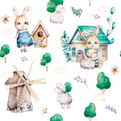 Cute bunnies in forest. Spring seamless pattern, cartoon illustration for children clothing. Woodland Watercolor style. Hand drawn boho image for cases design, nursery posters, postcards