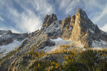 Liberty Bell Mountain, Early Winters Spires, and gloden autumn Larches. Seen from Washington Pass Overlook. North Cascades, Washington, Washington, United States