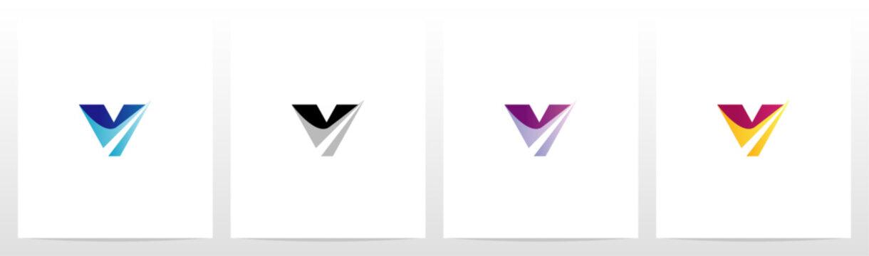 Swoosh Pointed Graphic On Letter Logo Design V