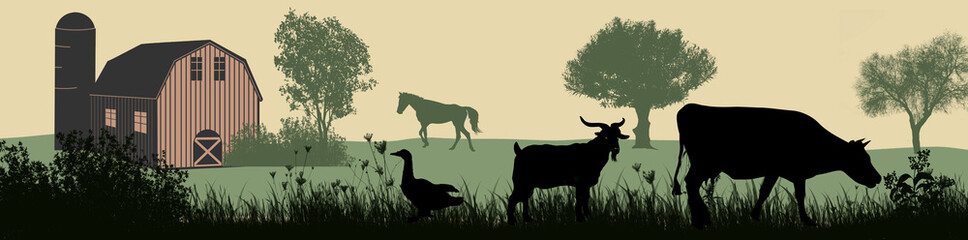 Fotobehang Beige Farm animals silhouette on beautiful rural landscape