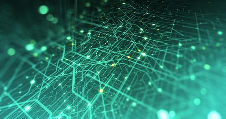 Abstract digital city. Digital Circuit board, Motherboard, Digital chip. Digitalization of Information: IT, IOT, Server, Data Center. Animated Visualization of Network Data. 3D render Wall mural
