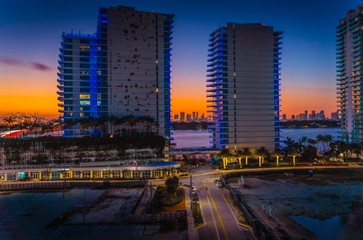 sunset night buildings skyscrapers miami florida city skyline circulation nature cityscape urban downtown lighting highway prints office clearance