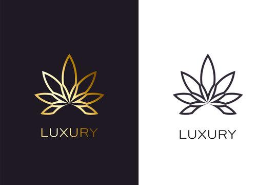 Gold cannabis plant logo. Luxury golden style
