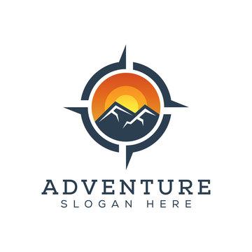 adventure mountain with compass logo design vector template