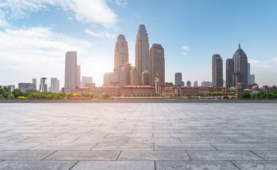 Road Plaza and Tianjin urban landscape skyline.. Papier Peint