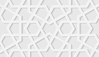 Arabic seamless pattern with classic islamic culture ornament. White background with shadow.