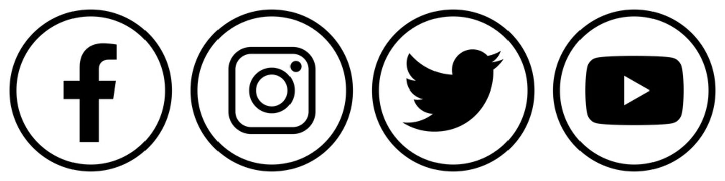 ewni23 EditoralWebNewIcon ewni - social media logotype: facebook, instagram, twitter, youtube. - social media icons. - 4 elements, web graphics for editoral - g9052 / GERMANY - FEB 14, 2020