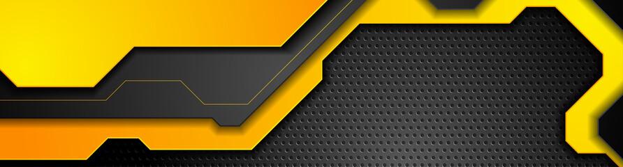 Fotobehang - Composition of orange futuristic elements on black background. Chrome metallic perforated texture design. Technology geometric illustration. Vector header banner
