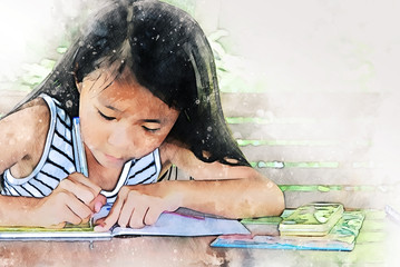 Abstract colorful girl kids learning and working homework on watercolor illustration painting background.