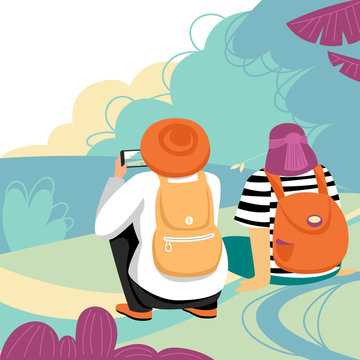 people in nature. people take a photo of the landscape. vector image