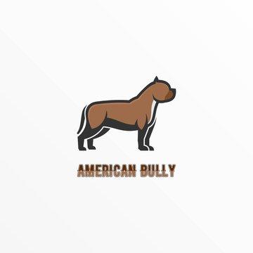 Vector Logo Illustration American Bully Mascot Cartoon Style
