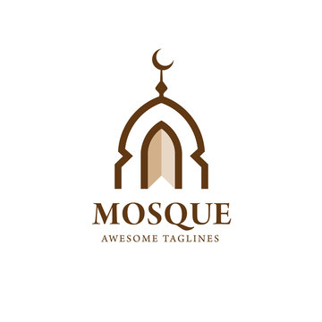 simple minimalist mosque building logo vector simple luxury icon illustration design