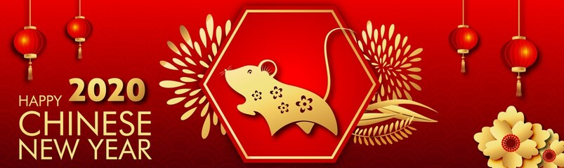 Happy Chinese New Year 2020.Year of the Rat. Chinese zodiac symbol With traditional greeting card illustration with traditional asian decoration and flowers in gold layered paper.