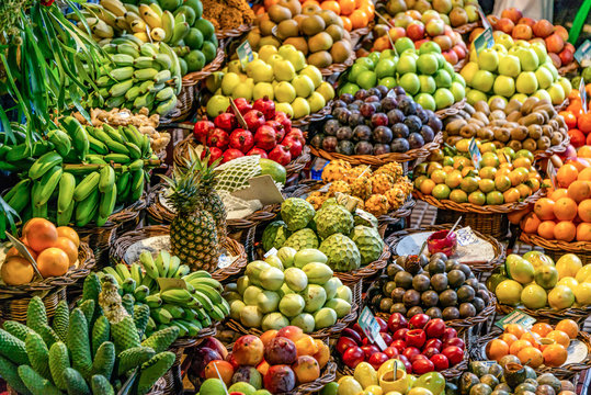Fresh exotic fruits on famous market in Funchal Mercado dos Lavradores Madeira island, Portugal