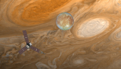 Wall Mural - Juno spacecraft with jupiter on the foreground Jupiter's Satellite Europa