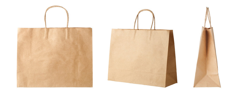 Brown paper shopping bags isolated on white background