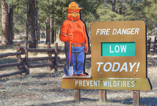 Smokey the Bear fire danger sign, prevent wildfires. Sitgreaves National Forest, Arizona USA