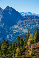 Sunny idyllic autumn alpine scene. Peaceful Alps mountain view from hiking path from Dorfgastein to Paarseen lakes, Land Salzburg, Austria. Picturesque hiking seasonal, nature beauty concept scene.