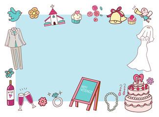 結婚式 ブライダル 青 イラスト 素材 フレーム デザイン 手書き風 かわいい