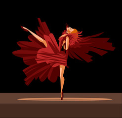 dancer lady in red dress on stage