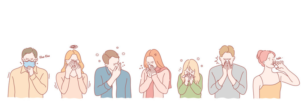 People with viral desease set concept. Group of young men and women has serious viral deseases. Allergic boys and girls cough and sneeze using handkerchief and nose drops. Simple flat vector