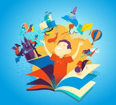 Ragazzo che appare da un libro. Leggere libri come un'avventura. Immaginazione, racconti, storie, scoperte per bambini. Copertina per libri colorata per bambini. Illustrazione vettoriale