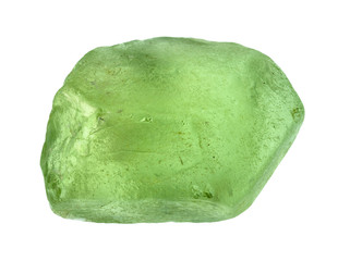 rough olivine (peridot, chrysolite) crystal cutout