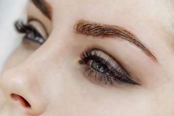Result of permanent makeup, tattooing of eyebrows