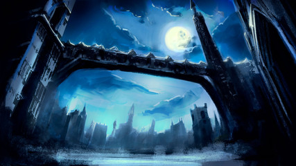 A beautiful fantasy winter city with Gothic towers and a long bridge, in a dynamic perspective, against the background of the night sky with a full moon and beautiful clouds. 2D illustration.