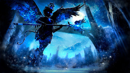 Ice angel sorceress with glowing eyes and a staff in her hands, on the background of the night winter landscape of a fantasy city with a long bridge and a tower, at midnight. 2D illustration. Fototapete