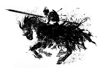 The silhouette of  sinister skeleton knight in a Royal crown, with a shield on his back and lance in front, riding a demonic horse rushing into battle. The drawing consists of blotches and smears. 2D.