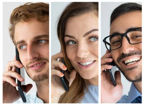 Faces of smiling people talking on phones. Multiscreen montage, split screen collage. Technology, call center concept