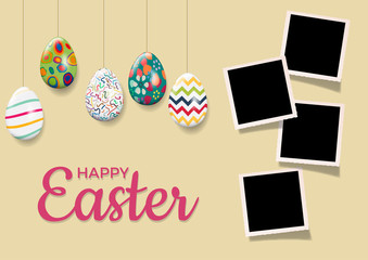 Easter background with eggs and photos, blank frames. Vector template with pictures to insert