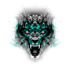 Abstract creative illustration with colorful devil for background