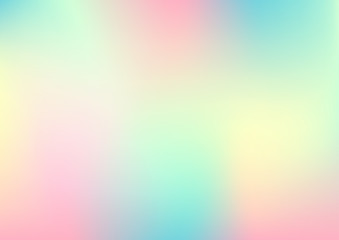 Holographic foil, pastel gradient abstract background. Vector illustration.