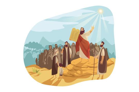 Moses with Gods tablets, Bible concept
