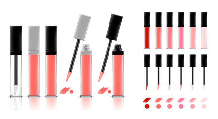 Collection of lipstick tubes with different color shade. Colorful lip gloss smudges. Makeup cosmetic product package. Vector illustration. Wall mural