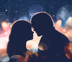 Romantic digital paint,Lovers on Valentine's day with snow background illustration