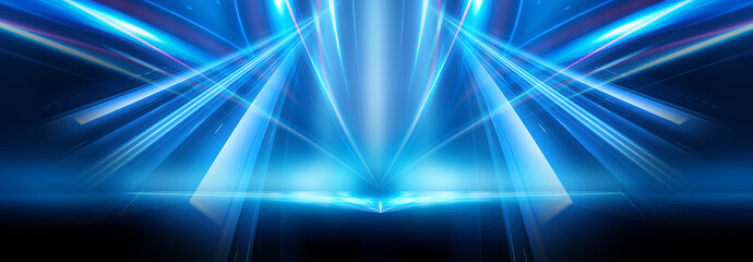 Abstract blue furutic background. Rays and lines, symmetrical reflection, blue neon. Abstract empty scene with beams and light of spotlights. Wall mural