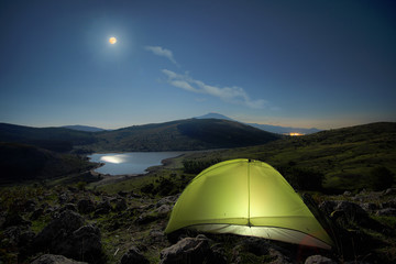 Night Fullmoon On Tent And Lake Of Nebrodi Park, Sicily