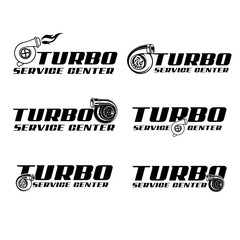 Turbo service center logo collection vector