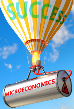 Microeconomics and success - pictured as word Microeconomics and a balloon, to symbolize that Microeconomics can help achieving success and prosperity in life and business, 3d illustration