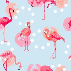 Tuinposter Flamingo Seamless pattern with pink flamingos and hand drawn circles. Vector illustration.