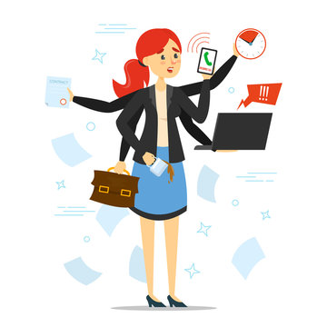 Busy woman trying to do many things at once vector