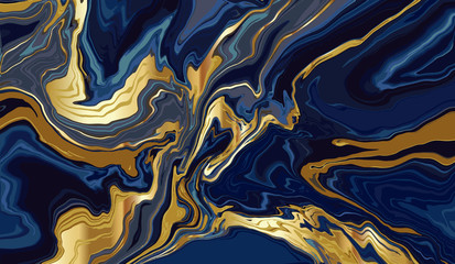 Fotobehang - luxury wallpaper. Blue marble and gold abstract background texture. Indigo ocean blue marbling with natural luxury style swirls of marble and gold powder.