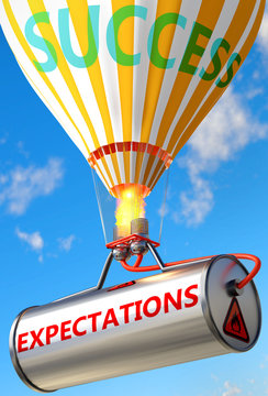 Expectations and success - pictured as word Expectations and a balloon, to symbolize that Expectations can help achieving success and prosperity in life and business, 3d illustration